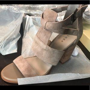 Hinge taupe suede block heel sandals